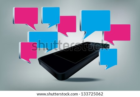 Smart phone with text bubbles vector illustration