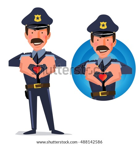 smart police officer making a heart with his hands. take care people - vector illustration
