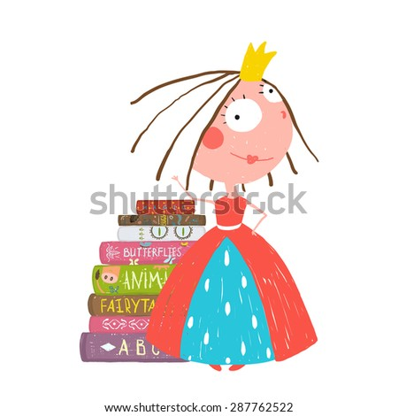 Smart Princess Beautiful Girl Getting Education Reading Books. Colorful sketchy cute drawing for little kids about reading books. - stock vector