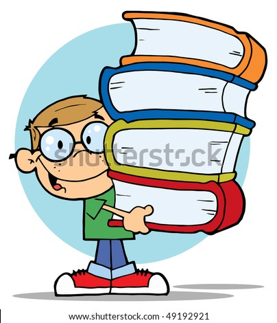 Smart School Boy Carrying A Stack Of Books - stock vector