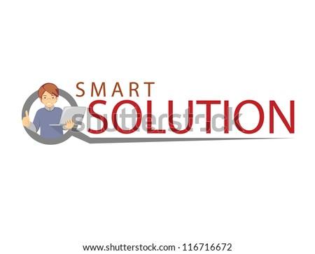 smart solution logo - stock vector