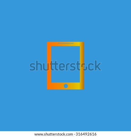 Smart tablet. Orange vector icon isolated on blue background. Illustration trend symbol - stock vector