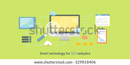 Smart technology for SEO analytics icon flat. Web business, optimization internet information, data and development, marketing chart, search and analysis illustration - stock vector