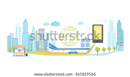 Smart technology in infrastructure of the city. Icon and network system, communication innovation town, connection and future, control information, internet illustration. Smart technology concept - stock vector