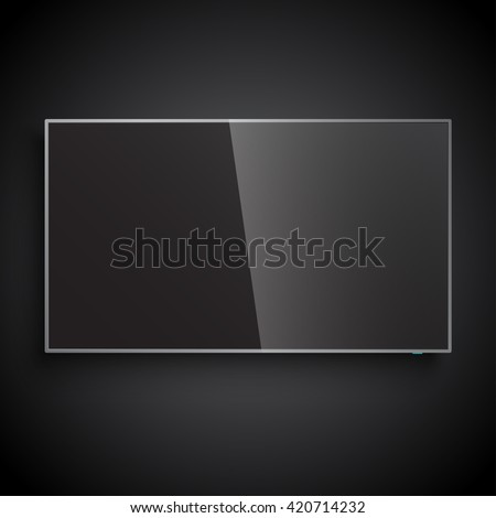 Smart TV Mock-up, Vector TV Screen, LED TV hanging on the black wall  - stock vector