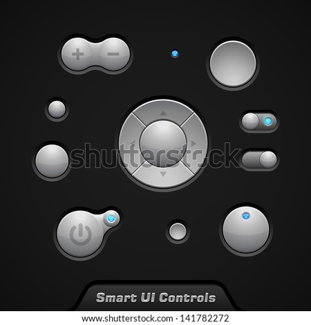 Smart UI Controls Web Elements: Buttons, Switchers, On, Off, Player, Audio, Video: Player, Volume, Equalizer, Bulb - stock vector