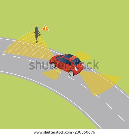 smart vehicle or safety car detecting woman crossing road vector illustration - stock vector