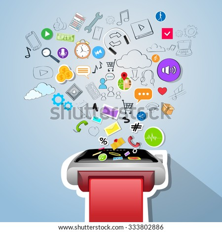 Smart Watch Application Technology Electronic Device Apps Icons Concept Doodle Hand Draw Sketch Background Vector Illustration - stock vector