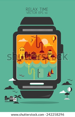 Smart watch concept style info graphic travel - stock vector