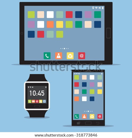 Smart watch interface, mobile phone interface and tablet interface, Vector Illustration EPS 10. - stock vector
