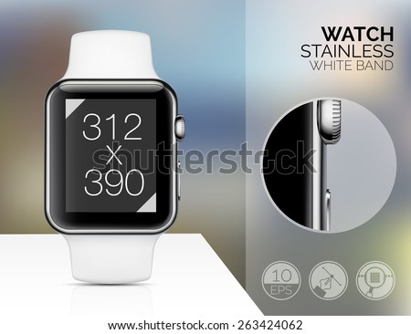 Smart watch isolated on blured background. Vector illustration - stock vector