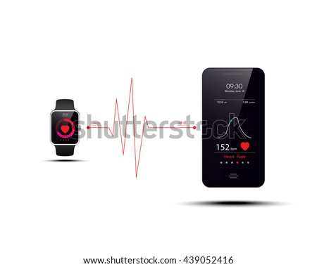 Smart watch transfer Heart rate data to smartphone,smart watch and smartphone synchronization,smartphone vector illustration