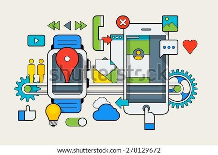 Smart watch vector infographic, line background - stock vector
