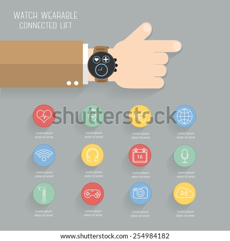 Smart watch wearable technology with icons set, Modern flat design vector eps10 - stock vector