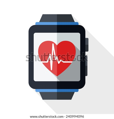 Smart watch with health app icon and long shadow on white background
