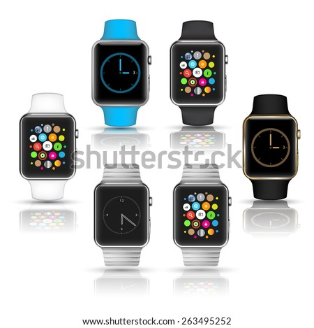 Smart watches wearable collection computer new technology. Vector Illustration. - stock vector