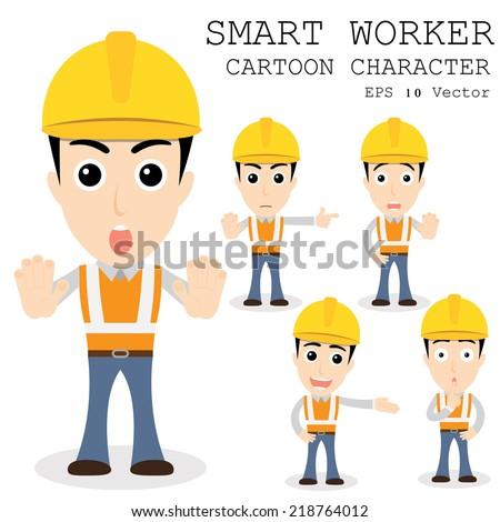 Smart worker cartoon character eps 10 vector illustration - stock vector