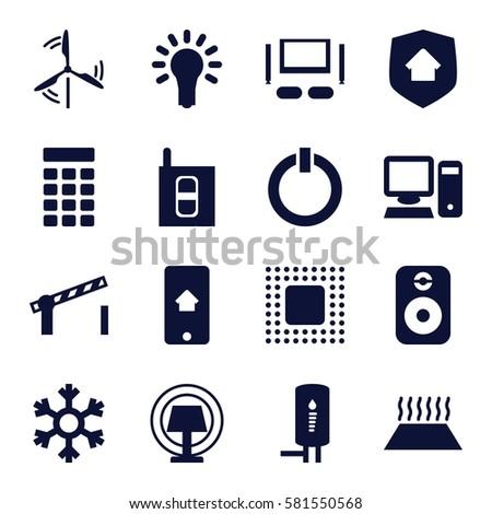 Smarthome Icons Set Set 16 Smarthome Stock Vector 581550568