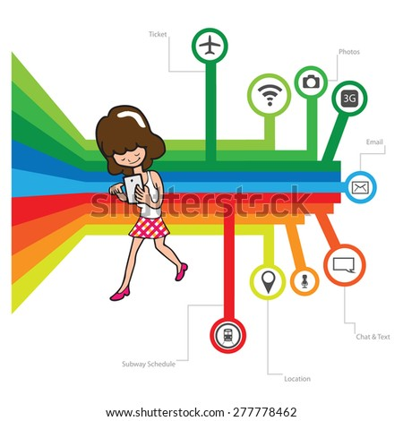 Smartphone addicted young woman vector - stock vector