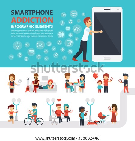 Smartphone addiction infographic elements with icon set, people with phones. Man hugs phone. Flat vector design. Banner, elements to use for web - stock vector