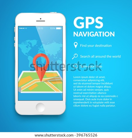 Smartphone and a map. Simple vector illustration of map on smartphone screen. - stock vector