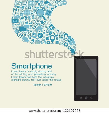 Smartphone and applications, vector - stock vector