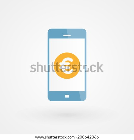 Smartphone and Euro - stock vector