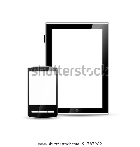 smartphone and tablet, vector - stock vector