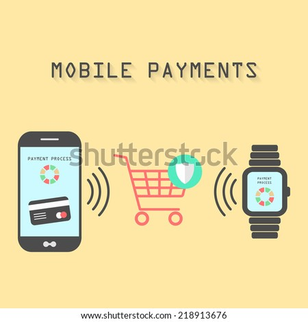 smartphone and watches with processing of protected mobile payments from credit card nfc technology communication concept isolated on yellow background flat design style modern vector illustration - stock vector