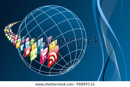 Smartphone application icons arrownd the world  on blue background. Vector file layered for easy manipulation and customisation. - stock vector