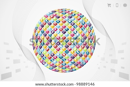 Smartphone application icons in world shape on grey background. Vector file layered for easy manipulation and customisation. - stock vector