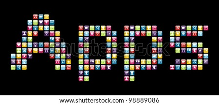 Smartphone applications icon set in Apps word shape. Vector file layered for easy manipulation and customisation. - stock vector