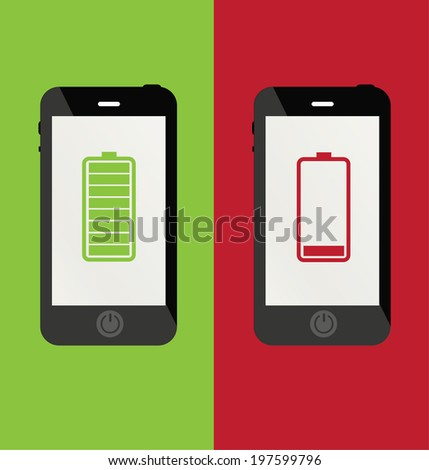 smartphone battery - stock vector
