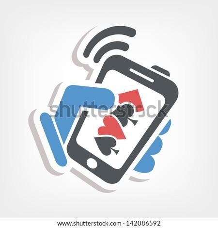 Smartphone betting online - stock vector