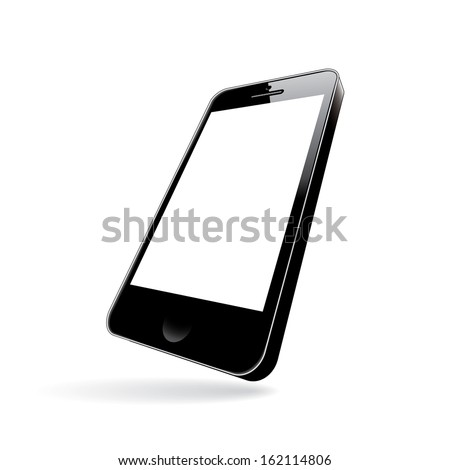 smartphone black. perspective view. vector illustration eps10 - stock vector