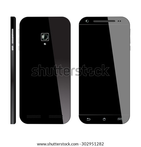 Smartphone black with blank screen, isolated on white background. Smart Phone Front, Back and Side view. Mockup design. Vector illustration.