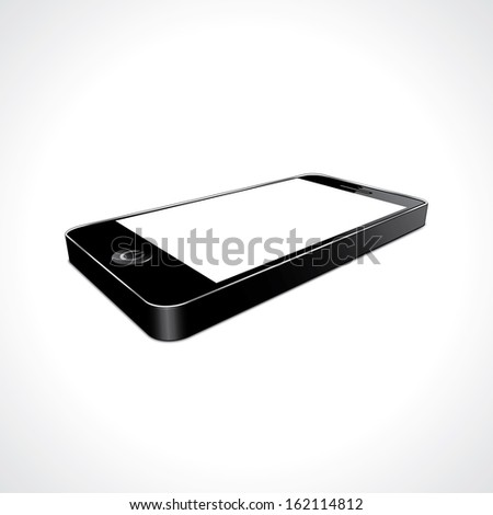 smartphone black with blank screen. perspective view. vector illustration eps10 - stock vector