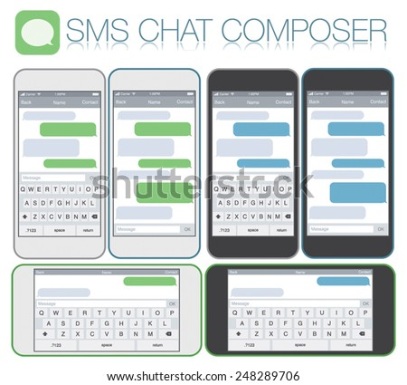 Smartphone chatting sms template bubbles. Place your own text to the message clouds. Compose dialogues using samples bubbles! Horizontal and vertical phone positions. Flat design vector illustration - stock vector