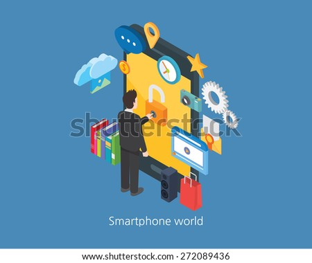 Smartphone concept design 3d isometric world and businessman - stock vector