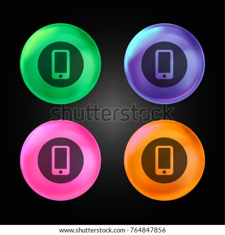 Smartphone crystal ball design icon in green - blue - pink and orange.