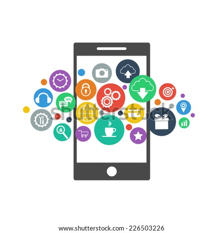 Smartphone device concept with applications (app) icons on white background. Flat design. Vector illustration - stock vector