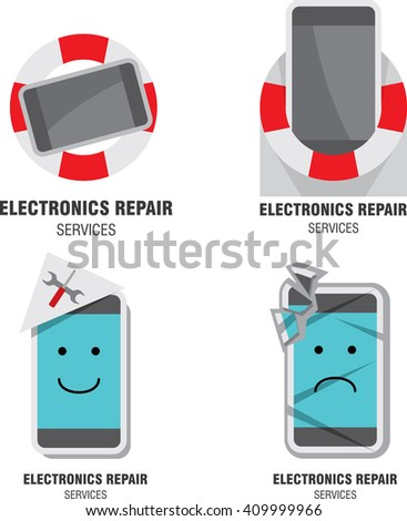Smartphone emblem. Mobile device repairing service icon. Vector illustration - stock vector