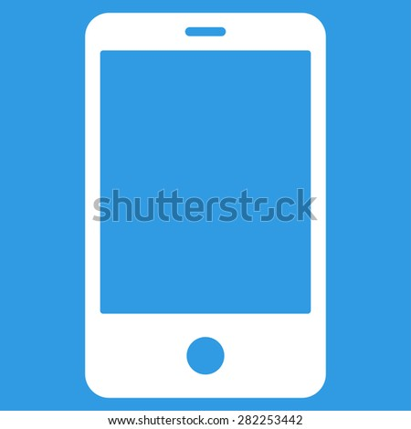 Smartphone icon from Basic Plain Icon Set. Style: flat vector image, white color, rounded angles, blue background.
