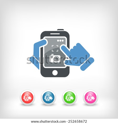 Smartphone icon. Photographing. - stock vector