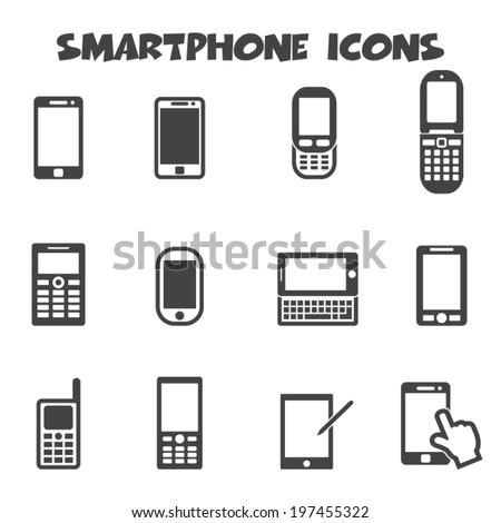 smartphone icons, mono vector symbols - stock vector