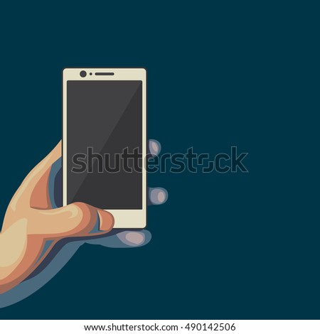 Smartphone in hand. Isolated flat style illustration on dark background. Male hand holds the white telephone.