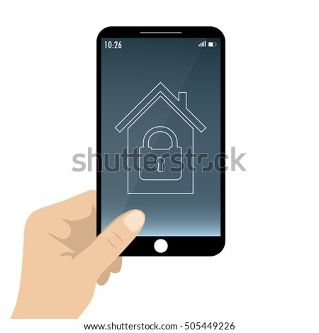 Smartphone in hand. smart house or security at home,isolated on white background,stock vector illustration