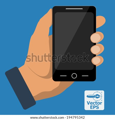 Smartphone in hand template for web and mobile applications. Vector. - stock vector