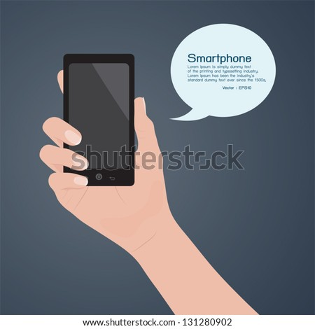 Smartphone in hand, vector - stock vector