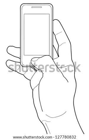 Smartphone in hand with blank screen